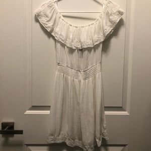 Hollister Off Shoulder Cotton White Mini Dress XS